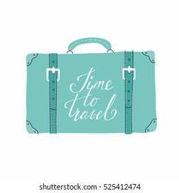 Vector template for card on the theme of travel, vacation, adventure. Retro 50's style. Suitcase with hand drawn lettering Time to travel
