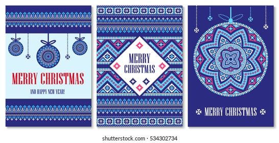 Vector template cards Merry Christmas in traditional style. New Years festive background with holiday ball pixel ornament.