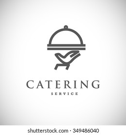 Vector template of catering company logo isolated on white background. Food, tray logo design. Catering, outdoor events and restaurant service insignia, food icons.