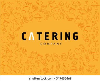 Vector template of catering company logo isolated on yellow background. Logo design collection. Catering, outdoor events and restaurant service insignia, food icon. Hand drawn cupcake, chair, sausage.