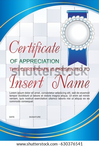 Vector Template Certificate Of Appreciation With Colorful Pattern And A Beautiful Bow Place For