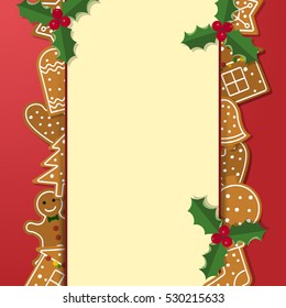 Vector Template Christmas Ginger Bread Cookies Stock Vector Royalty