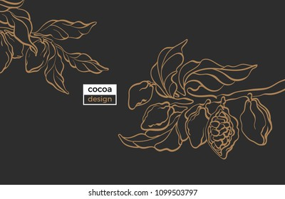 Vector template of cocoa tree branch with leaves and bean. Botanical hand draw sketch design, art line illustration Realistic nature banner Organic sweet, bio background, graphic card, gold plantation