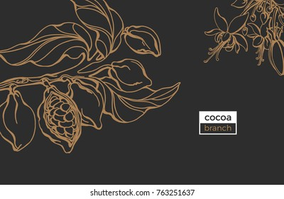 Vector template of cocoa tree branch with leaf, flower and bean. Botanical drawing.  Sketch design, art line. Realistic nature style. Organic sweet. Gold doodle illustration on black background