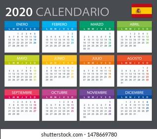 Vector template of color 2020 calendar - Spanish version