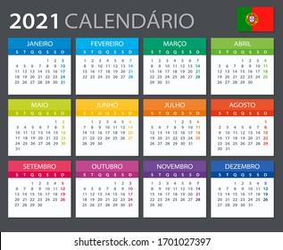 Vector template of color 2021 calendar - Portuguese version