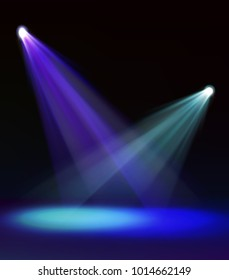 Vector template of colorful blue green and vivid stage spotlight on dark background