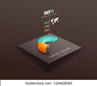 Vector template with colorful pie chart and place for your data.