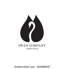 Vector template of company in the form of the silhouette of swan. Vector template of icon of swan isolated on the white background.