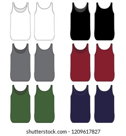 Vector template for Curved Hem Tank Tops