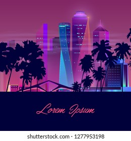 Vector template with dark palms and night city in neon, ultraviolet colors. Bright multistorey buildings, new architecture background. Skyscrapers with trees, urban concept. Modern megapolis backdrop.