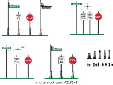 vector template for decorative street signs