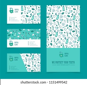 Vector template for dentistry. Tooth emblem and seamless pattern. Tooth brush and tooth paste icon. Teeth cleaning. Dental care logo. Card, label, visit card, banner design template.