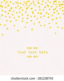Vector template design card with gold foil confetti on a  watercolor background