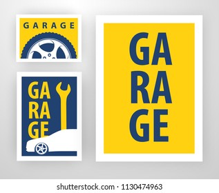 Vector Template Design for decoration of Garage. Layout of banner, card, background, sticker for Auto and Tire repair.