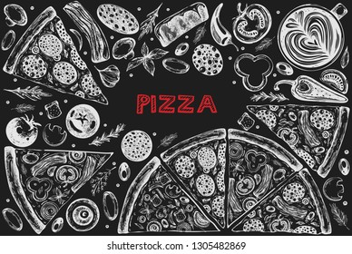 Vector template design with graphic illustrations of pizza on the blackboard