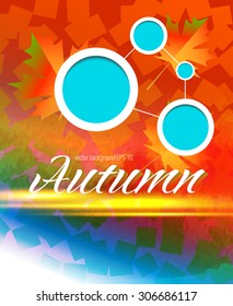 Vector template for design of a leaflet. Autumn bright background with maple leaves.