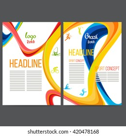 Vector template design strips of colored rings and waves.Concept sport brochure, Web sites,page,leaflet, logo Brazil 2016 and text separately. Sport concept banners with symbols of sports competitions