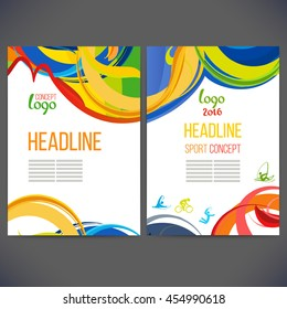 Vector template design strips of colored rings and waves.Abstract colorful pattern. Banners with symbols of athletic games 2016 year, sports competitions.