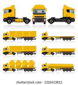 Vector template with detailed cargo truck. Isolated realistic cargo truck white background. Vector