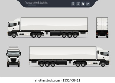 Vector template with detailed cargo truck. Isolated realistic cargo truck grey background. Vector
