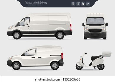 Vector template with detailed cargo van and scooter. Isolated realistic cargo truck and van on gray background. Vector
