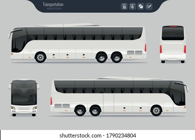 Vector template with detailed coach bus. Isolated realistic coach bus grey background. EPS