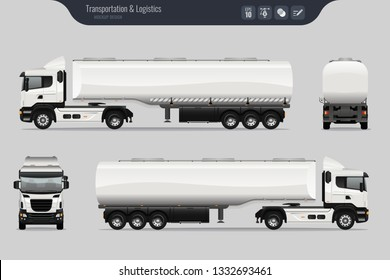 Vector template with detailed fuel tanker truck. Isolated realistic fuel tanker truck grey background. Vector