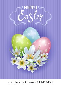 Vector template Easter cards with realistic eggs and flowers Zephyranthes. Purple background. Lettering, calligraphy.