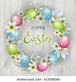 Vector template Easter cards with realistic eggs and flowers Zephyranthes. Wood background. Lettering, calligraphy.