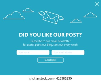 Vector template for email subscribe. With envelopes in sky on blue background.