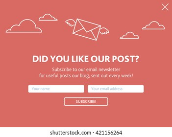 Vector template for email subscribe. With envelopes in sky on red background.