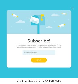 Vector template for email subscribe. With flying envelopes and mailbox.