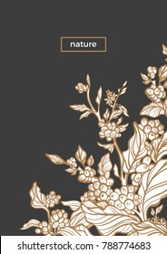 Vector template with engrave of coffee branch, leaf, bean, flower. Nature golden card on black background. Floral art line design Sketch vintage template Art deco bouquet Hand drawn illustration Text