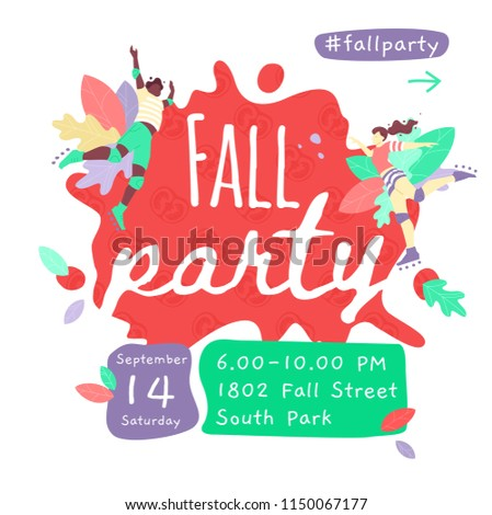 Vector Template Of Fall Party Banner Design With Two People Jumping In The Air Square