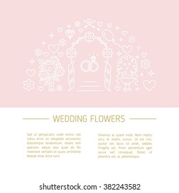 Vector template for Florist company or other Wedding business. Line style vector illustration. Wedding planner work image or web site design for agency.