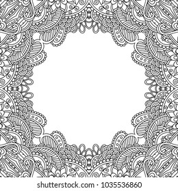 Vector template frame floral mandala for decorating greeting cards, coloring books, art therapy,  wedding invitation, brochure, flyer, poster, packaging, textile, notebook, cover.