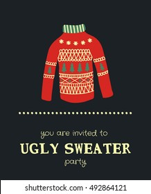 vector template of a funny Christmas party invitation with illustration of a sweater