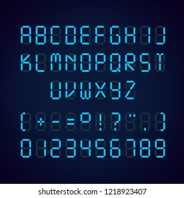Vector template of glowing realistic digital blue alphabet and numbers, alarm clock letters isolated on black background