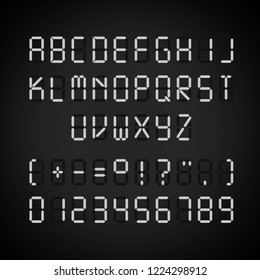 Vector template of glowing realistic digital electronic white alphabet and numbers isolated on black background, alarm clock letters