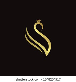 Vector template of golden crowned swan with initials letter V for logo