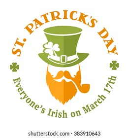 Vector template for greeting card or poster of irish happy St. Patrick's day with hipster leprechaun as logo of holiday