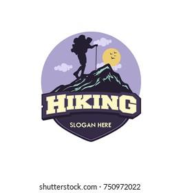 vector template hiking illustration for your logo, emblem and design