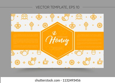 Vector template with honey bee emblem and seamless pattern. Honey outline icons. Warm yellow color. Card, label, banner design template. Horizontal format.