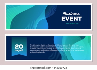 Vector template illustration of blue colorful abstract composition with text on dark background, horizontal format. Business event concept. Front and back side. Flat art design modern style banner