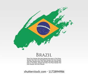 vector template Illustration Brazil flag South American country orange white green brush paint watercolor hand drawn stroke and texture. Grunge vector isolated on white text place background