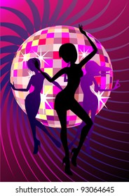 vector template illustration of a disco ball and dansing girls silhouettes