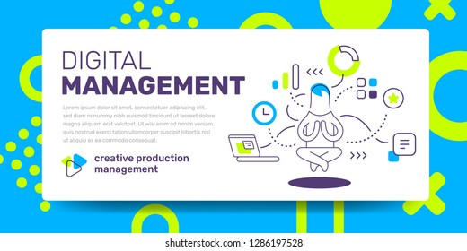 Vector template with illustration of flying guru manager and icon on white background with text digital management. Line art style design with abstract pattern for web, site, banner, presentation