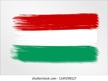 vector template Illustration Hungary flag  Central Europe country red white green brush paint watercolor hand drawn stroke and texture. Grunge vector isolated on white background