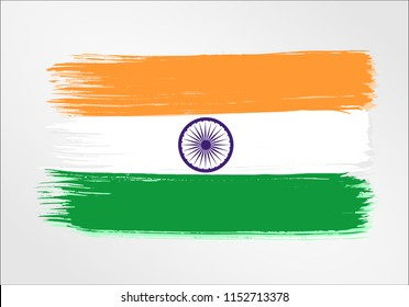 vector template Illustration India flag Asia country orange white green brush paint watercolor hand drawn stroke and texture. Grunge vector isolated on white background
